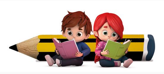 Dibujo de niños leyendo